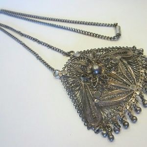 Celtic Silver Filigree Floral Pendant with Chain
